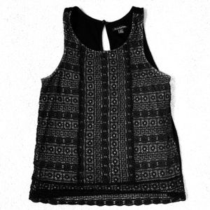 Black and grey embroidered tank